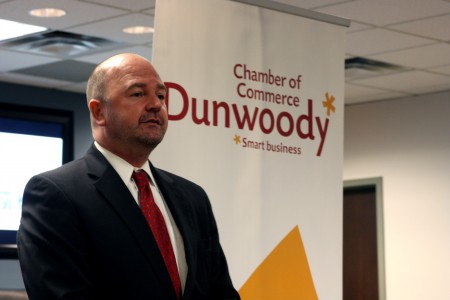 Board of Directors Chair Brent Morris gives his acceptance speech during the Dunwoody Chamber of Commerce annual meeting Nov. 18.