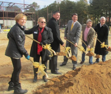 Fulton School Board members Julia Bernath and Gail Dean, Superintendent Robert Avossa, Sandy Springs Mayor Rusty Paul and Councilmen Gabriel Sterling and Andy Bauman break ground on the site for the future Heards Ferry Elementary School