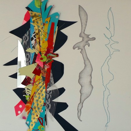 """Society president Roxane Hollosi's """"Looking Glass #5"""" collage, comprised of fabric, paper, drawings and a broken mirror."""