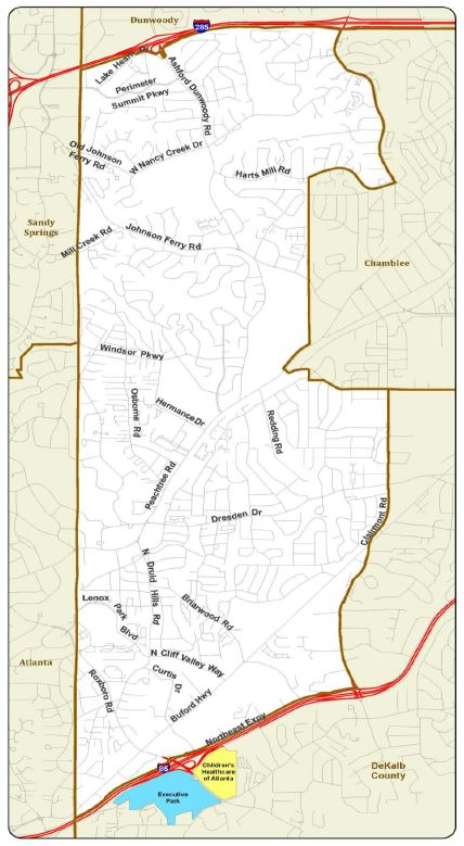Executive Park (in blue) and Children's Healthcare (in yellow) have asked to be annexed into Brookhaven.
