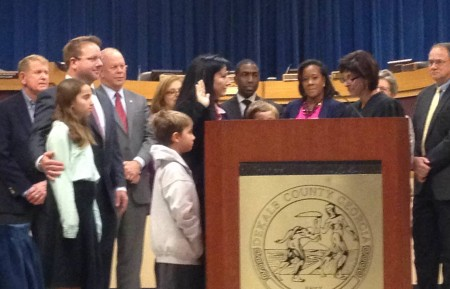 New DeKalb Commissioner Nancy Jester is sworn in on Dec. 8, 2014.