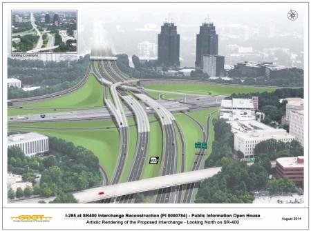 A GDOT illustration of the future rebuilt I-285/Ga. 400 interchange