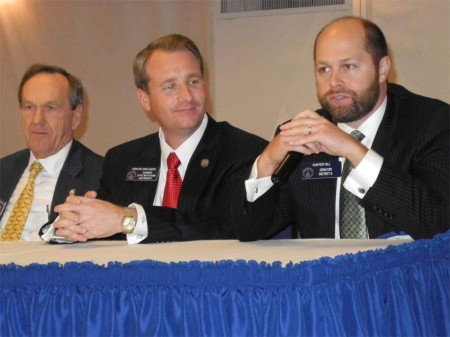At last year's roundtable are Senators Fran Millar, John Albers and Hunter Hill. Photo courtesy Rotary Club of Sandy Springs