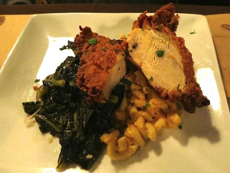Fried chicken, mac 'n cheese and collards.