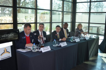 Left to right, Sen. Steve Gooch (R-Dahlonega), Georgia Transportation Commissioner Keith Golden, Rep.Mike Jacobs (R-Brookhaven), State Road and Tollway Authority executive director Chris Tomlinson and Jane Hayse of the Atlanta Regional Commission review transportation during a panel discussion Dec. 15 hosted by the Perimeter Community Improvement Districts.