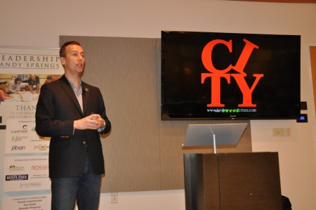 Peter Kageyama talked about loving Sandy Springs at a Leadership Sandy Springs event. Photo courtesy LSS