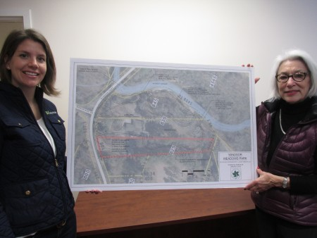 Molly Welch, left, and Linda Bain present plans for Windsor Meadows.