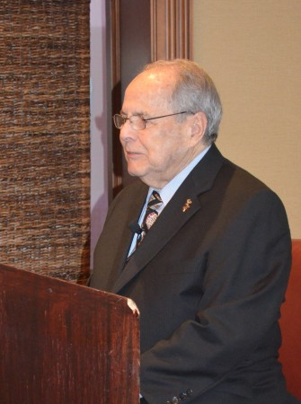 """Buckhead Coalition president Sam Massell delivers his """"State of the Community"""" address to the Buckhead Business Association on March 12, 2015."""