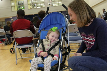Amy Kuykendall, right, accompanied by daughter Vivian, were on hand to support another daughter, Sophia, a first grader.