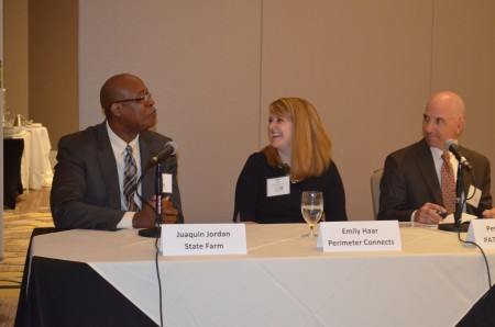 Left to right, Juaquin Jordan, Emily Haar and Pete Pellegini talk about transportation options during a panel discussion May 15 sponsored by the Perimeter Business Alliance.