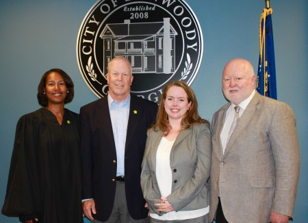 Pictured in the photo are (Left to right) Dunwoody Municipal Court Judge Sharon Dixon, Mayor Mike Davis, Judge September Guy, City Attorney Bill Riley