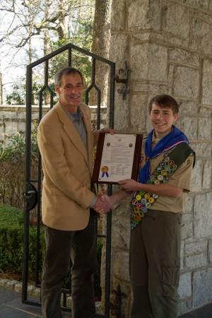 Atlanta City Councilman Howard Shook, left, honored Benjamin Yarmowich for his project's success.