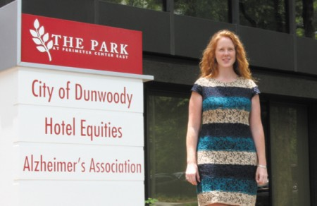 Dunwoody Assistant City Manager Jessica Guinn stands at City Hall on her third day in office.