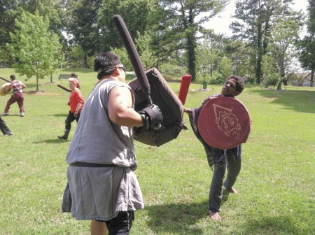 On Sundays, Blackburn Park transforms into a battleground complete with foam swords and metal armor. Photo by John Ruch