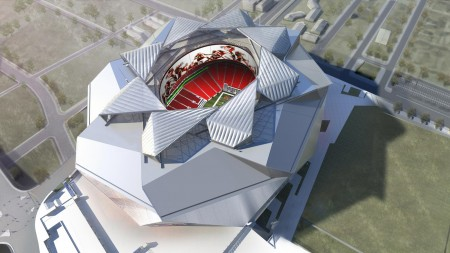 An illustration of the Falcons stadium under construction in Atlanta.