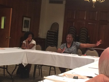 Councilmember Felicia Moore updates the Buckhead Council of Neighborhoods on the Moores Mill Road project.