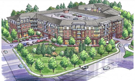 An illustration of the apartments proposed at Johnson Ferry Road and Old Johnson Ferry Road on Pill Hill, on the Brookhaven-Sandy Springs border.