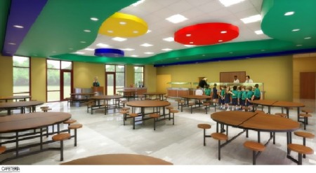An illustration of the proposed new dining hall and cafeteria at the Davis Academy.
