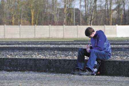Marist student Joey O'Connor, a member of the class of 2017, records his thoughts while visiting the Dachau concentration camp.