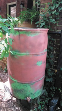 A homemade rain barrel.
