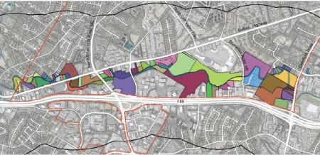 Brookhaven officials hope the park will include or have access to parcels shown above in color. City officials say they don't plan to condemn any of the property, but will buy some of it and seek other forms of access to other areas.