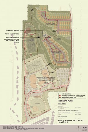 A map of the proposed Glenn West redevelopment on Glenridge Drive.