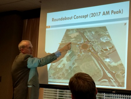 Jonathan Reid, a consultant hired to study the intersection of Wieuca and Phipps roads, said a roundabout is the best option for alleviating traffic congestion. He updated the BCID Sept. 29.