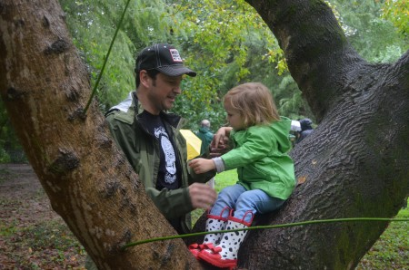 Trey Gibbs and his daughter Katelyn, 2, who live close to the park, were eager to go for a hike and admire the tall trees.