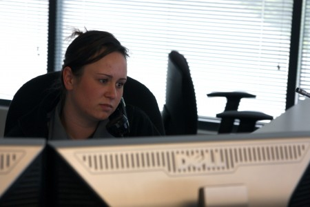 Brittany Baxter, a ChatComm floor supervisor, left the restaurant industry to join the company as a dispatcher.