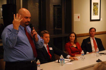 Brookhaven candidates met in a public forum on Oct. 20. Left to right, Dale Boone and John Ernst are running for mayor, while City Council members Linley Jones and Bates Mattison seek to return to their seats on the council.