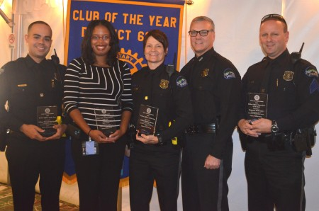 The Sandy Springs Rotary Club recognized local police officers and firefighters on Oct. 19 with its 2015 Public Safety Awards. Recipients were, left to right, co-police officer of the year Officer Elizardo Rodriguez, civilian employee of the year Kim Davis, co-police officer of the year Katrina Bruce, Police Chief Ken DeSimone, and police supervisor of the year Sgt. Scott Levy.
