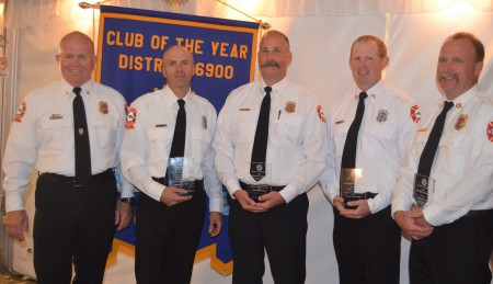 The Sandy Springs Rotary Club also recognized local firefighters on Oct. 19 with its 2015 Public Safety Awards. Fire Chief Keith Sanders, at left, presented awards to, left to right, Paramedic of the Year Firefighter Kevin Parks, Chief Fire Officer of the Year Division Commander Donald Willbanks, Firefighter of the Year Daniel Fullmore and Fire Officer of he Year Capt. James Reeves.