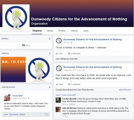"""A Facebook Page created as a joke Oct. 23. Its administrator encourages residents to """"just say no to everything"""" and said """"no thanks"""" to requests for comment."""