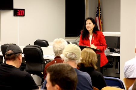 DeKalb County Commissioner Nancy Jester discusses issues in the county with residents at Brookhaven City Hall Oct. 6