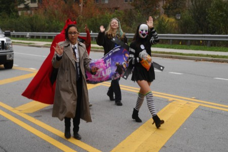 North Spring Charter High School Homecoming Parade; Spalding Drive. Saturday October 31, 2015 10:00am. The parade started from the staging area in the parking lot of Woodland Elementary School, and proceeded westbound to the high school. NSHS Sci-fi Club members.