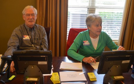 Brookhaven poll manager Bill Roberts and poll worker Susan Hamilton reported a steady turnout of voters throughout the day for the city election.