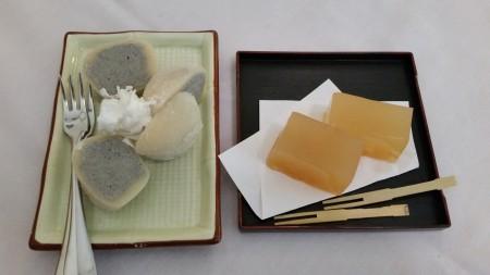 Black sesame mochi ice cream and yuzu citron kanten jelly.