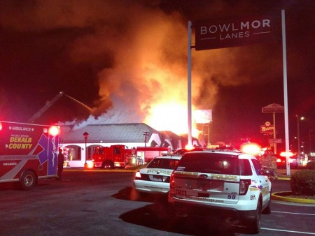 A structure fire at Bombay Grill closed Savoy Drive in Dunwoody to traffic at 7 a.m. Sunday Nov. 15. Photo courtsey Dunwoody Police Department,