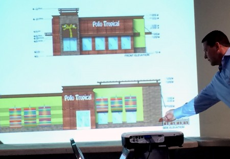 Alan Kennedy, a director with Hines, points to the portion of a proposed Pollo Tropical restaurant that would face 4453 Ashford-Dunwoody Road. Kennedy spoke to members of the Dunwoody Homeowners Association Nov. 1.