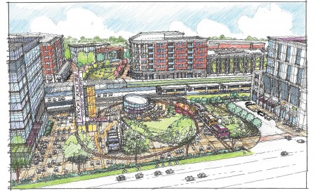 MARTA's proposal of town-center-style development at Brookhaven/Oglethorpe station.