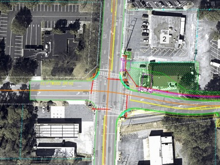 A city illustration of the proposed realignment of Carpenter Drive's intersection with Roswell Road at Cliftwood Drive.