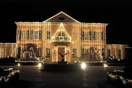 The Singh home on West Paces Ferry Road in Buckhead, above, features hanging lights, above. The home was lit in October ahead of Diwali. Photo by Ellen Eldridge