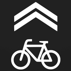 A bicycle sharrow on pavement.