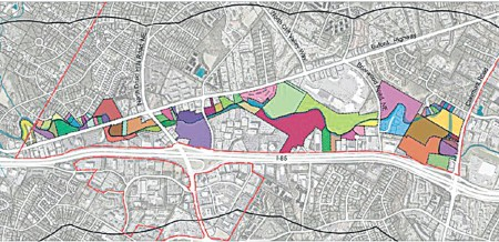 A map of land along the proposed Peachtree Creek Greenway park.