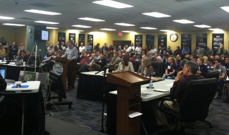 Residents fill the Dec. 17 Planning Commission meeting at Sandy Springs City Hall during the hearing of the Galloway School's athletic facilities proposal. (Photo John Ruch)