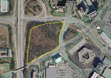 The Northpark site, a wooded area bounded by Ga. 400, Mount Vernon Highway and Abernathy and Peachtree-Dunwoody Roads, in an image from city of Sandy Springs zoning documents.