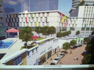 """An illustration of the """"retail alley"""" area of the 1117 Perimeter Center West Plan shown at the Jan. 20 meeting. (Photo John Ruch)"""