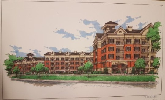 An illustration of Parc Communities' proposed senior housing as seen from Hammond Drive, presented at the Jan. 25 meeting at Apostles Church. (Photo John Ruch)