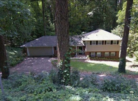A Google Earth image of the house at 521 Hammond Drive from the city of Sandy Springs documents about the purchase.