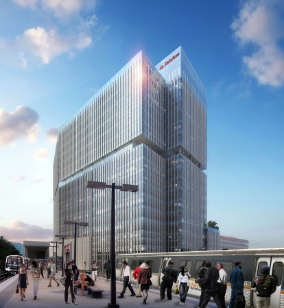 A rendering of the new State Farm building near the Dunwoody MARTA station. Construction is expected to be finished by the end of 2016.